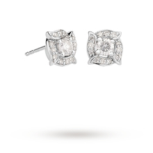 18ct White Gold 0.50ct Diamond Rosette Halo Stud Earrings