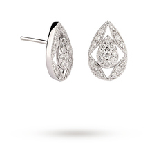 18ct White Gold 0.33ct Diamond Vintage Pear Stud Earrings