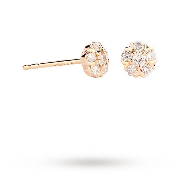 9ct Yellow Gold 0.20ct Flower Stud Earrings