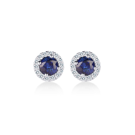 Carrington 18ct White Gold 0.79cttw Sapphire and 0.15cttw Diamond Stud Earrings