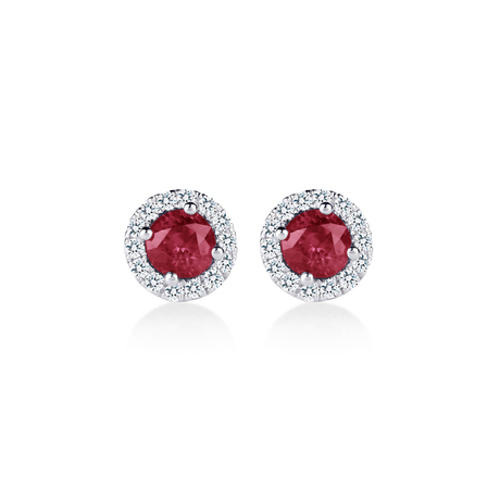 Carrington 18ct White Gold 0.79cttw Ruby and 0.15cttw Diamond Stud Earrings