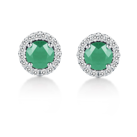 Carrington 18ct White Gold 0.53cttw Emerald and 0.15cttw Diamond Stud Earrings