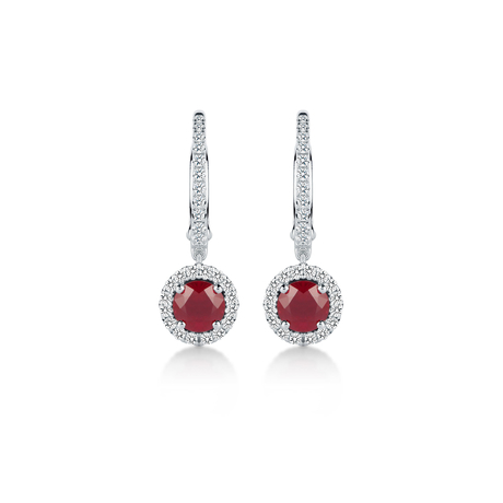 Carrington 18ct White Gold 1.30cttw Ruby and 0.30cttw Diamond Drop Earrings