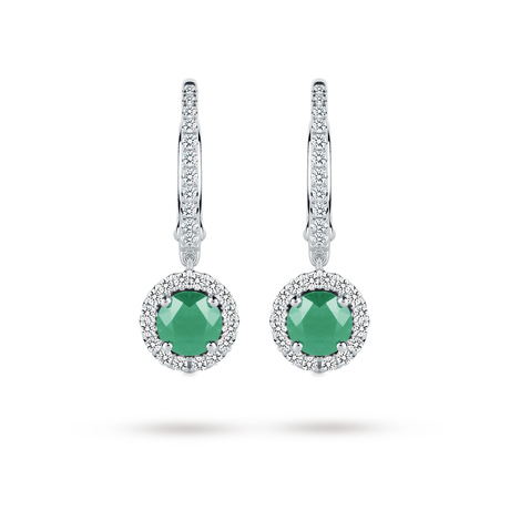 Carrington 18ct White Gold 0.90cttw Emerald and 0.30cttw Diamond Drop Earrings