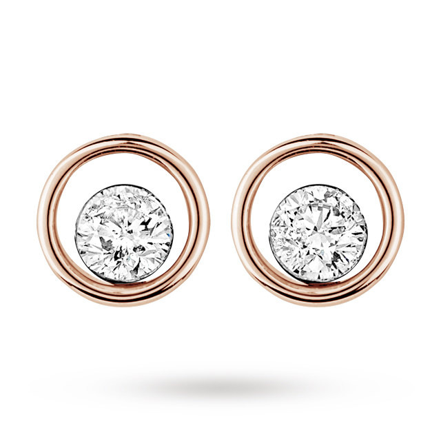 9ct Rose Gold 0.40ct Floating Diamond Earrings