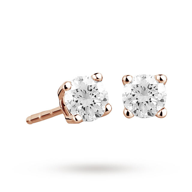 9ct Rose Gold 0.33ct 4 Claw Diamond Earrings