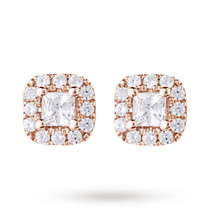 9ct Rose Gold 0.20ct Princess Cut Diamond Stud Earrings