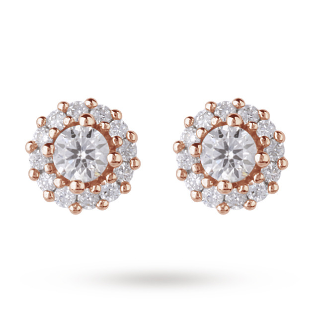 9ct Yellow Gold 0.30ct Diamond Halo Stud Earrings