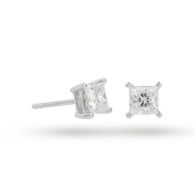 18ct White Gold 0.70ct Princess Cut D Colour Diamond Earrings