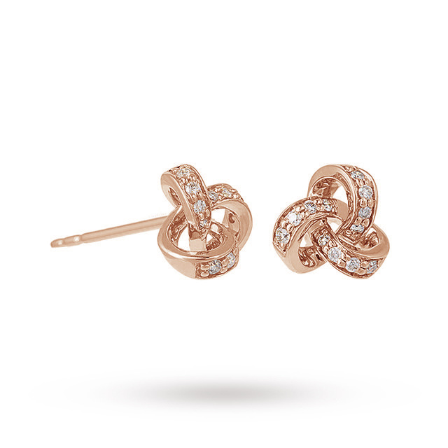 9ct Rose Gold 0.15ct Diamond Knot Stud Earrings