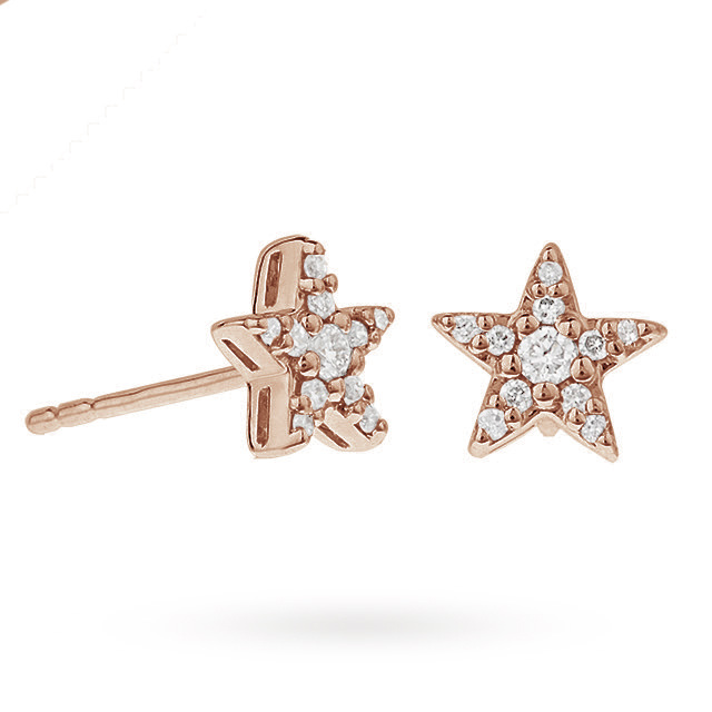 9ct Rose Gold 0.15ct Diamond Star Stud Earrings