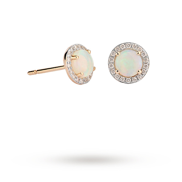 9ct Yellow Gold 5mm Opal And Diamond 0.13ct Halo Stud Earrings