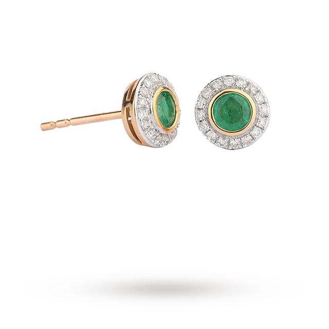 9ct Yellow Gold Emerald And Diamond Earrings