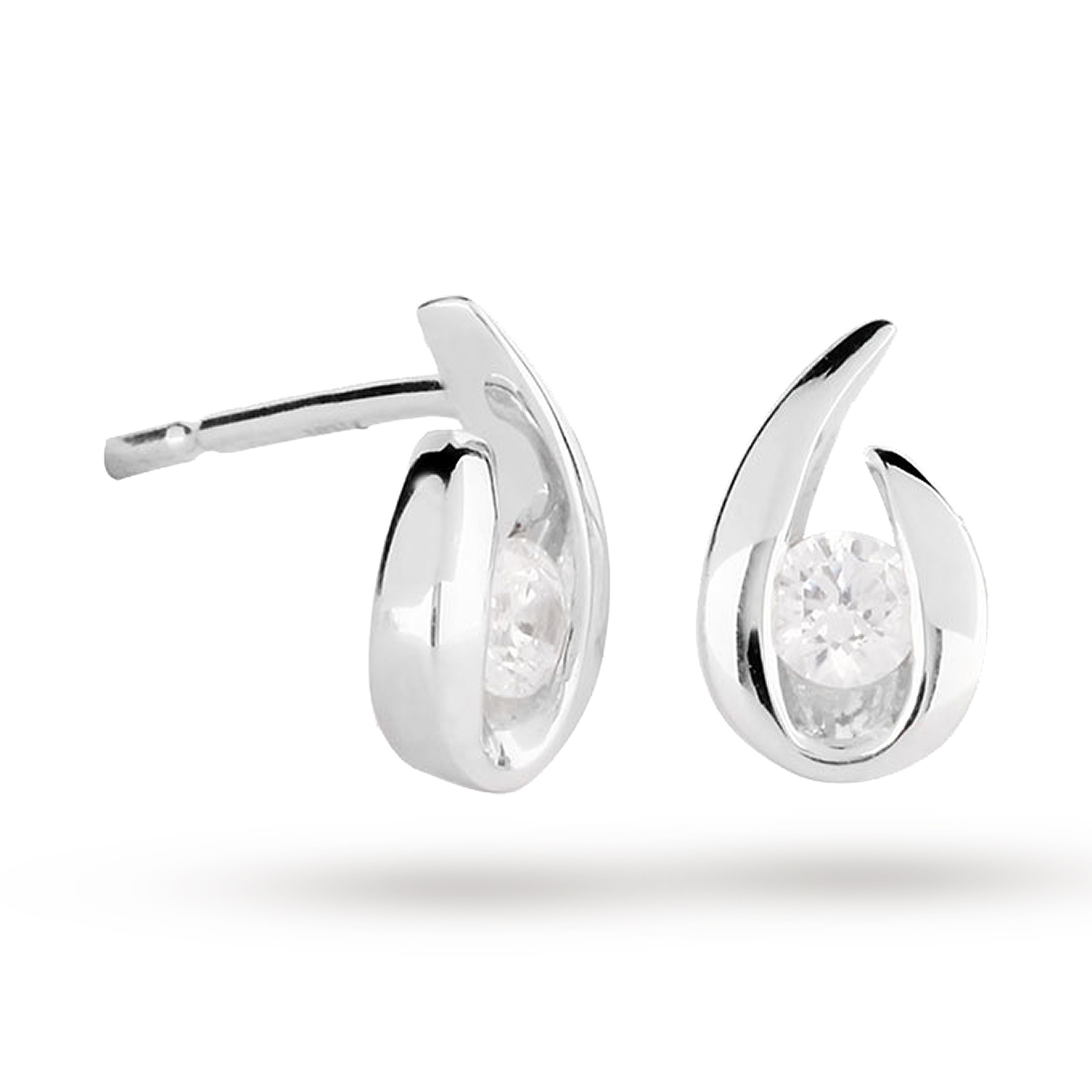 9ct White Gold 0.15ct Diamond Swoop Stud Earrings