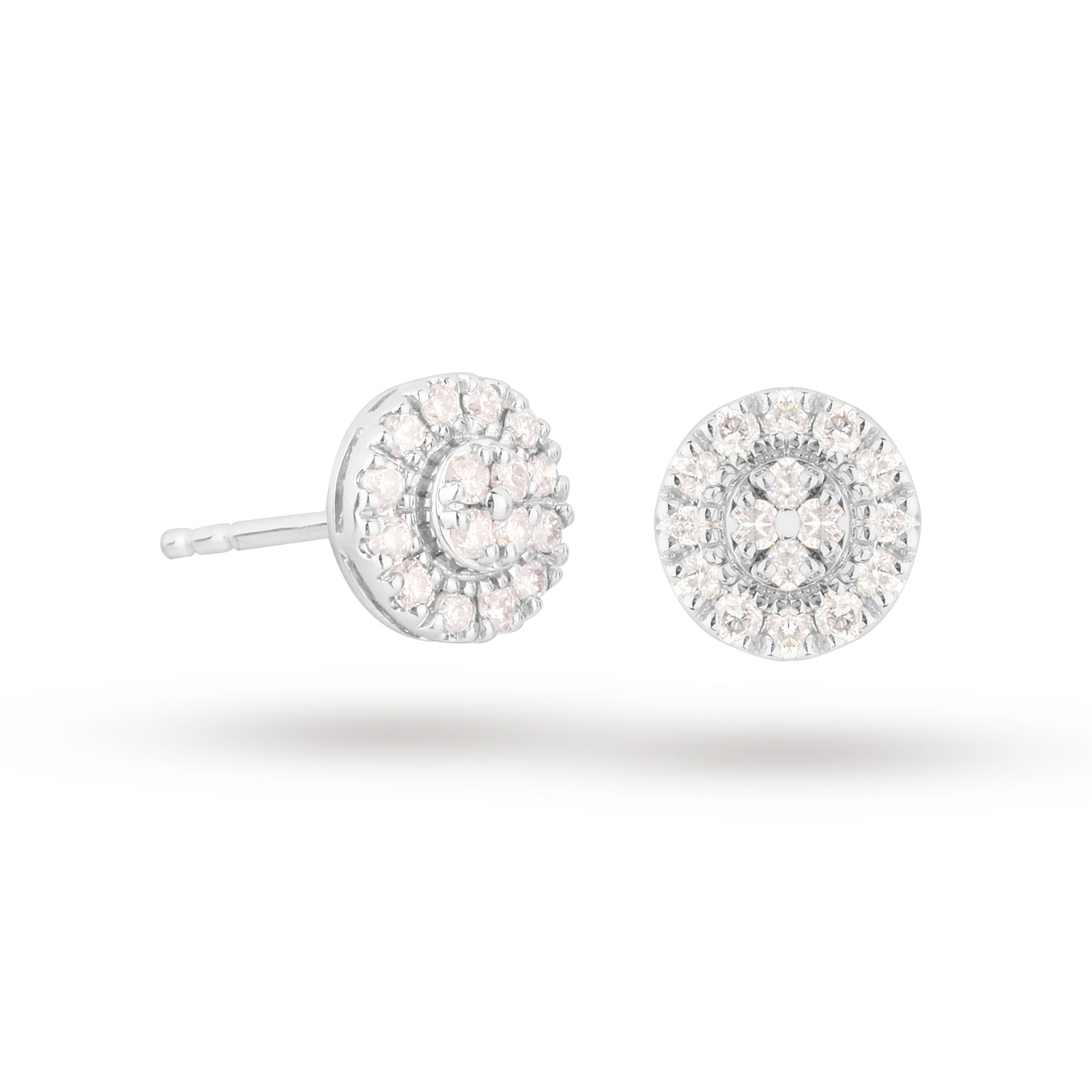 9ct White Gold 0.30cttw Diamond Round Cluster Earrings