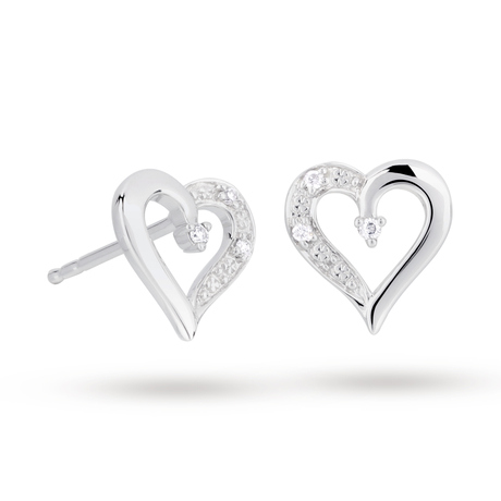 9ct White Gold Diamond Heart Stud Earrings