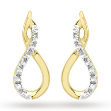 9ct Yellow Gold 0.06cttw Diamond Set Infinity Stud Earrings