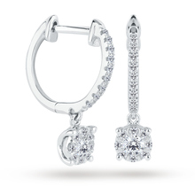 9ct White Gold 0.30 Carat Total Weight Diamond Multi Stone Drop Earrings