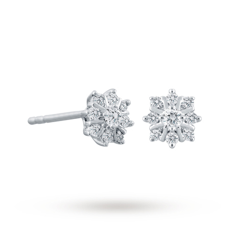 For Her - 9ct White Gold 0.15cttw Snowflake Earrings - 12152689