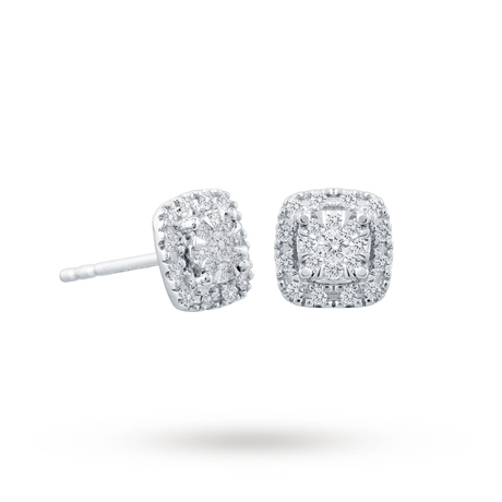 For Her - 9ct White Gold 0.21cttw Multi Stone Halo Earrings - 12152690