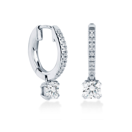 Platinum 0.68 Carat Total Weight Diamond Drop Earrings