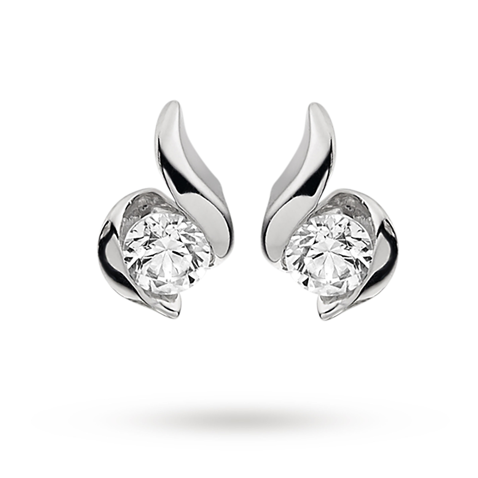 9ct White Gold 0.15ct Wrapped In Love Diamond Earrings