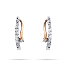 9ct Yellow and White Gold 0.10 Carat Total Weight Diamond Earrings
