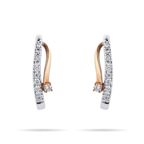 For Her - 9ct Yellow and White Gold 0.10 Carat Total Weight Diamond Earrings - 12152703