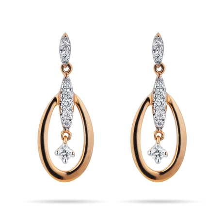 For Her - 9ct Yellow Gold 0.15 Carat Total Weight Diamond Oval Drop Earrings - 12152706