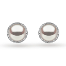 Yoko 18ct White Gold Pearl and 0.325ct Diamond Stud Earrings