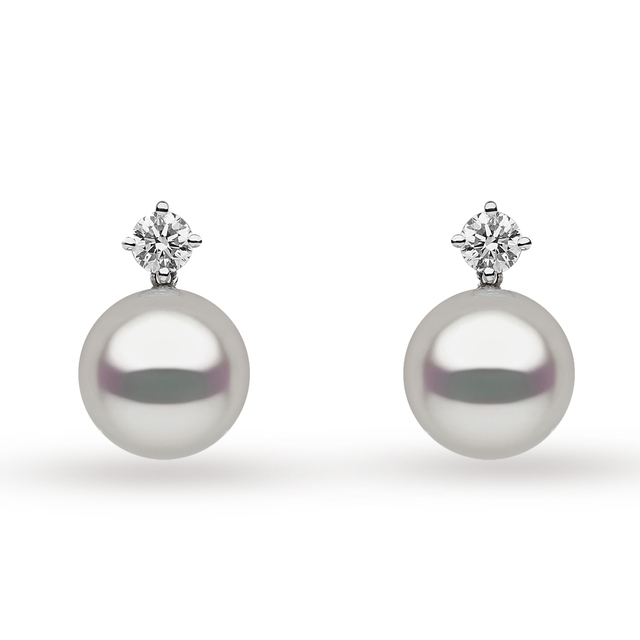Yoko 18ct White Gold Pearl and 0.60ct Diamond Stud Earrings