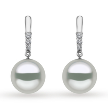 Yoko 18ct White Gold 10mm Pearl Diamond Drop Earrings