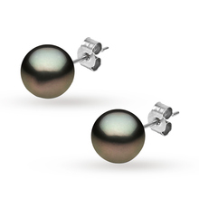 Yoko 18ct White Gold 9-10mm Tahitian Stud Earrings