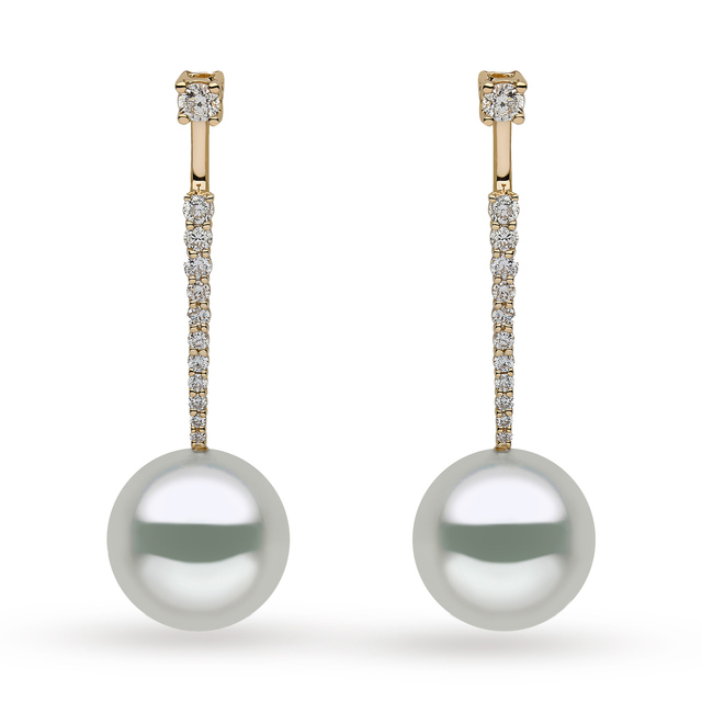 Yoko 18ct Yellow Gold 0.59ct Diamond Pearl Drop Earrings