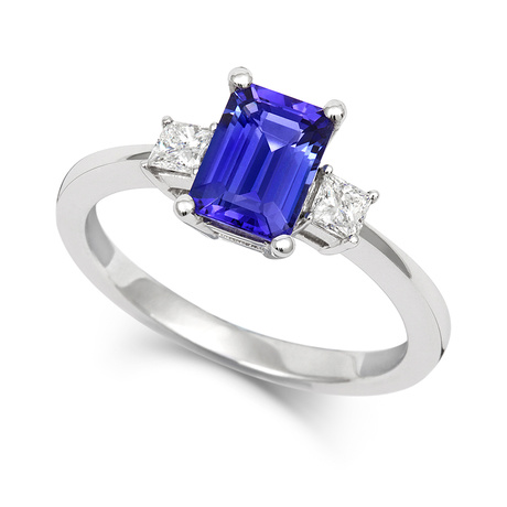18ct White Gold and Diamond Ring with Emerald Cut Tanzanite