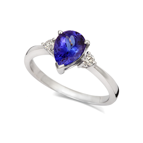 18ct White Gold and Diamond Ring with Pear Cut Tanzanite