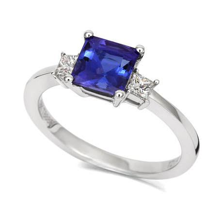 18ct White Gold and Diamond Ring with Princess Cut Tanzanite