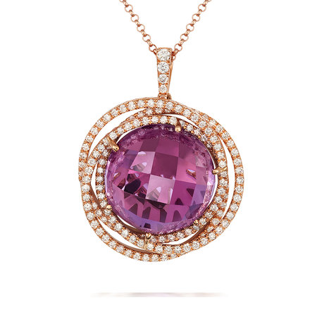 18ct Rose Gold and Diamond Pendant with 12.71ct Amethyst