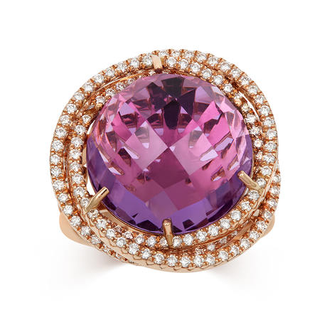18ct Rose Gold and Diamond Ring with 14.00ct Amethyst