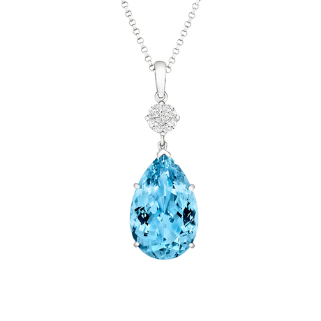 18ct White Gold and Diamond Pendant with 9.96ct Pear Cut Aquamarine