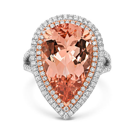 18ct Rose Gold and Diamond Ring with 8.61ct Morganite