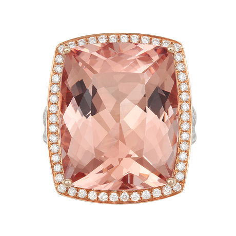 18ct Rose Gold and Diamond Ring with 21.26ct Morganite
