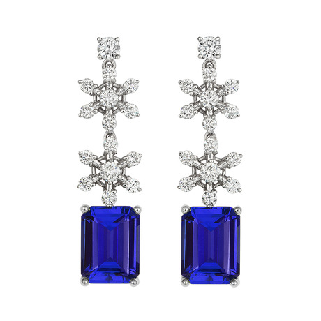 18ct White Gold and Diamond Earrings with 4.94ct Emerald  Cut Tanzanites