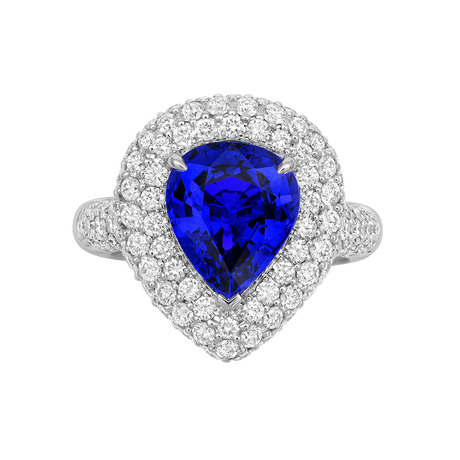 18ct White Gold and Diamond Ring with 3.61ct Pear  Cut Tanzanite