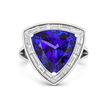 18ct White Gold and Diamond Ring with 8.69ct Trillion  Cut Tanzanite