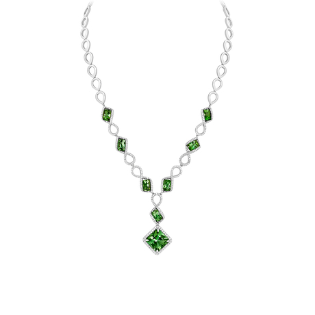 18ct White Gold and Diamond Necklace with 14.62ct Tourmalines