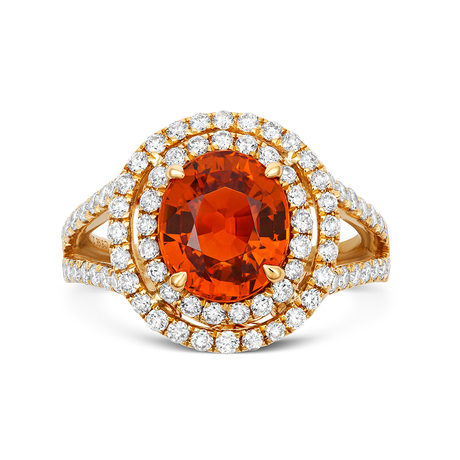 18ct Yellow Gold and Diamond Ring with 3.94ct Mandarin Garnet