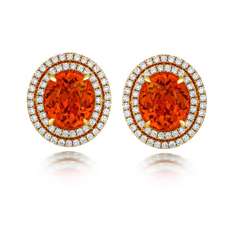 18ct Yellow Gold and Diamond Earrings with 6.25ct Mandarin Garnet