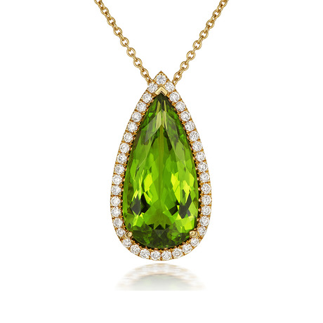 18ct Yellow Gold and Diamond Pendant with 9.84ct Peridot