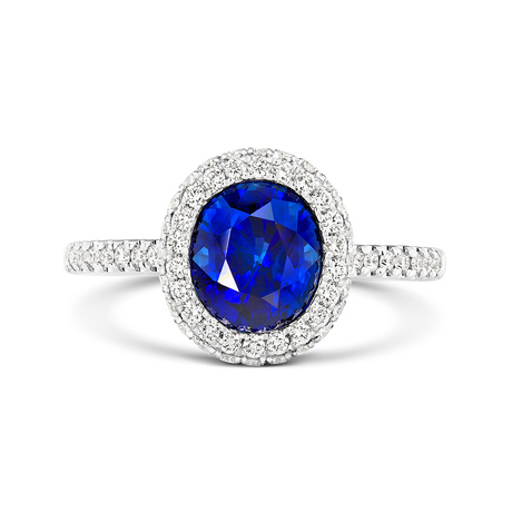 18ct White Gold and Diamond Ring with 2.82ct Sapphire.